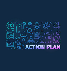 action plan colored outline banner vector image