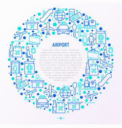 airport concept in circle with thin line icons vector image