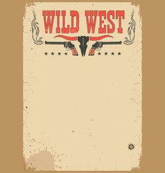 american cowboy western poster for text vector image