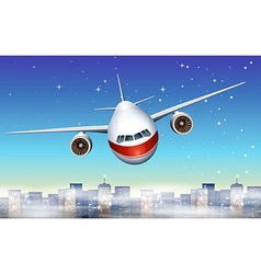 An airplane above the city vector image