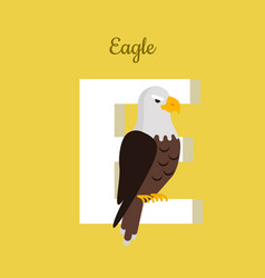 Animals alphabet letter - e vector