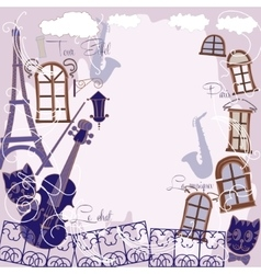 Background with music cat and saxophone vector