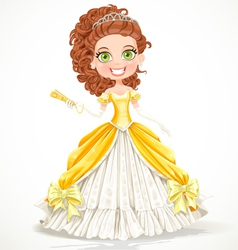 Beautiful princess in a yellow ball dress vector image
