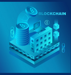 big data center cryptocurrency and blockchain vector image