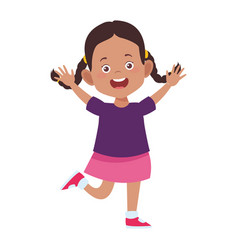Cartoon excited girl icon flat design vector