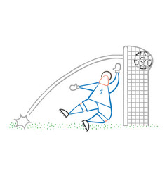 Cartoon goolkeeper man concede a goal vector