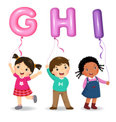 Cartoon kids holding letter ghi shaped balloons vector