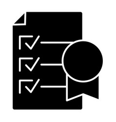 Certificate solid icon document vector