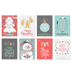 Christmas hand drawn card set vector