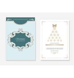 Christmas template with laser cutting vector