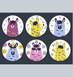 Circle shape stickers set with cute llama for kids vector