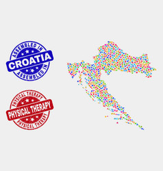 Component croatia map and grunge assembled and vector