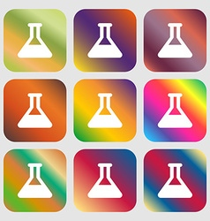 Conical Flask icon Nine buttons with bright vector image