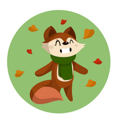 cute cartoon fox and autumn vector image