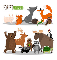 cute forest animals collection isolated on vector image