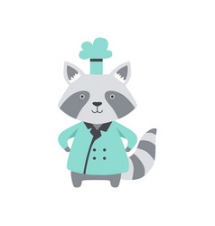 Cute raccoon in chef uniform cartoon animal vector