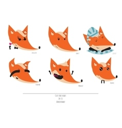 Cute set of playful foxes heads with vector image