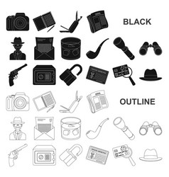 Detective and attributes black icons in set vector