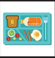 Dinner tray poster school lunch blue salver vector