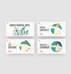 Family characters training martial arts landing vector