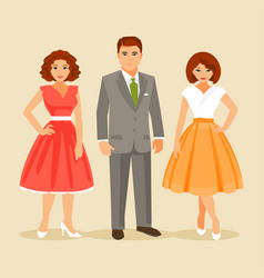 Fashion 1950s years vector