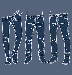 Fashion Collection of mens jeans vector