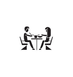 first date in restaurant black concept icon vector image