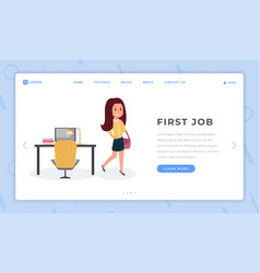 first job landing page flat template female vector image