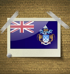 Flags Tristan da Cunhaat frame on a brick vector image