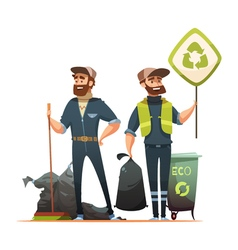 Garbage Sorting Collecting Recycling Cartoon vector