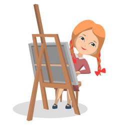 girl in art club sitting near easel and drawing vector image