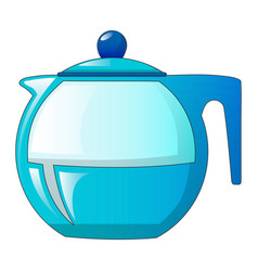 glass tea pot icon cartoon style vector image