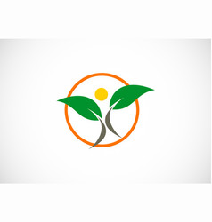 Green leaf people logo vector