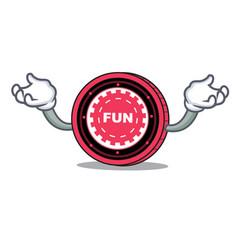 Hand up funfair coin character cartoon vector