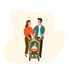 happy family with bastroller man woman and a child vector image