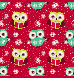 happy winter holidays seamless pattern with owls vector image