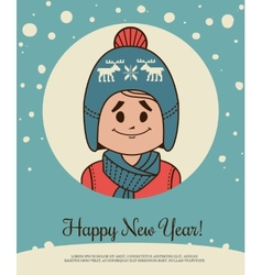 Holiday card with small boy in knitted cap and vector