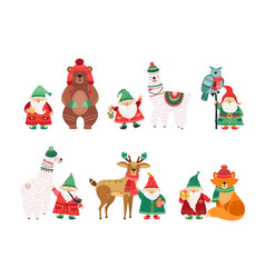 holiday winter characters christmas dwarfs vector image