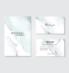 holographic mint grey wedding marble card design vector image