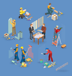 Home repair isometric icons set with workers vector