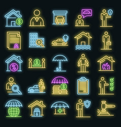 Insurance agent icons set neon vector