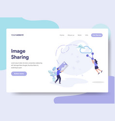 landing page template of image sharing concept vector image
