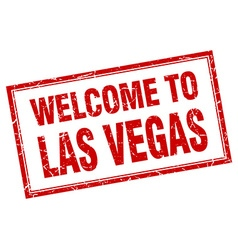 Las Vegas red square grunge welcome isolated stamp vector
