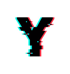 Logo letter y glitch distortion vector
