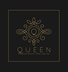 Luxurious letter q logo with classic line art vector