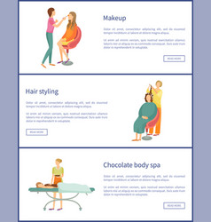 Makeup and hair styling stylist posters vector