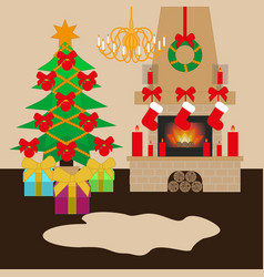 Modern interior design christmas decorated living vector