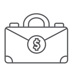 money suitcase thin line icon bag and business vector image