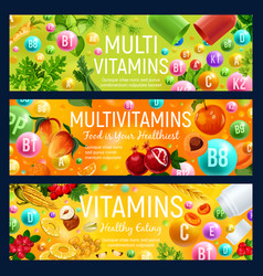 Multivitamin banners natural vitamin food vector