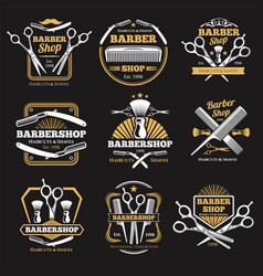 Old barbershop emblems and labels vintage vector